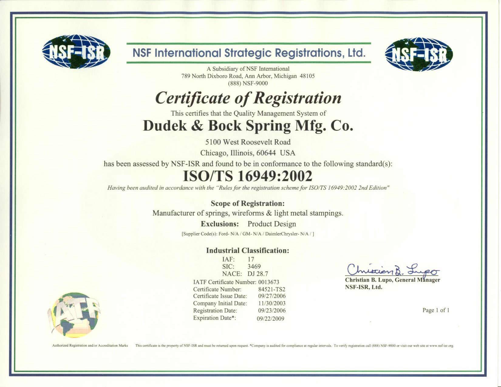 Dudek bock quality certifications dudek bock ford q1 certification xflitez Images