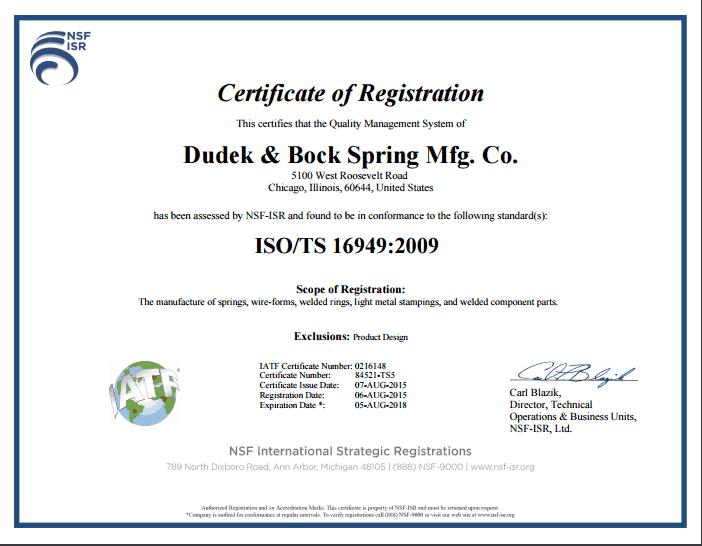 Dudek Bock Quality Certifications Dudek Bock